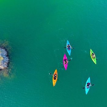 kayaking drone shot